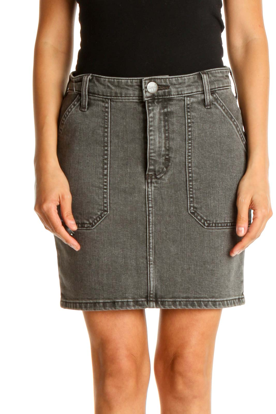 Gray Textured All Day Wear Pencil Skirt Front