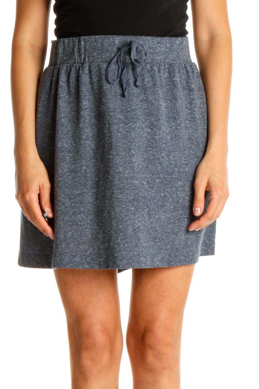 Blue Textured Chic Skirt Front