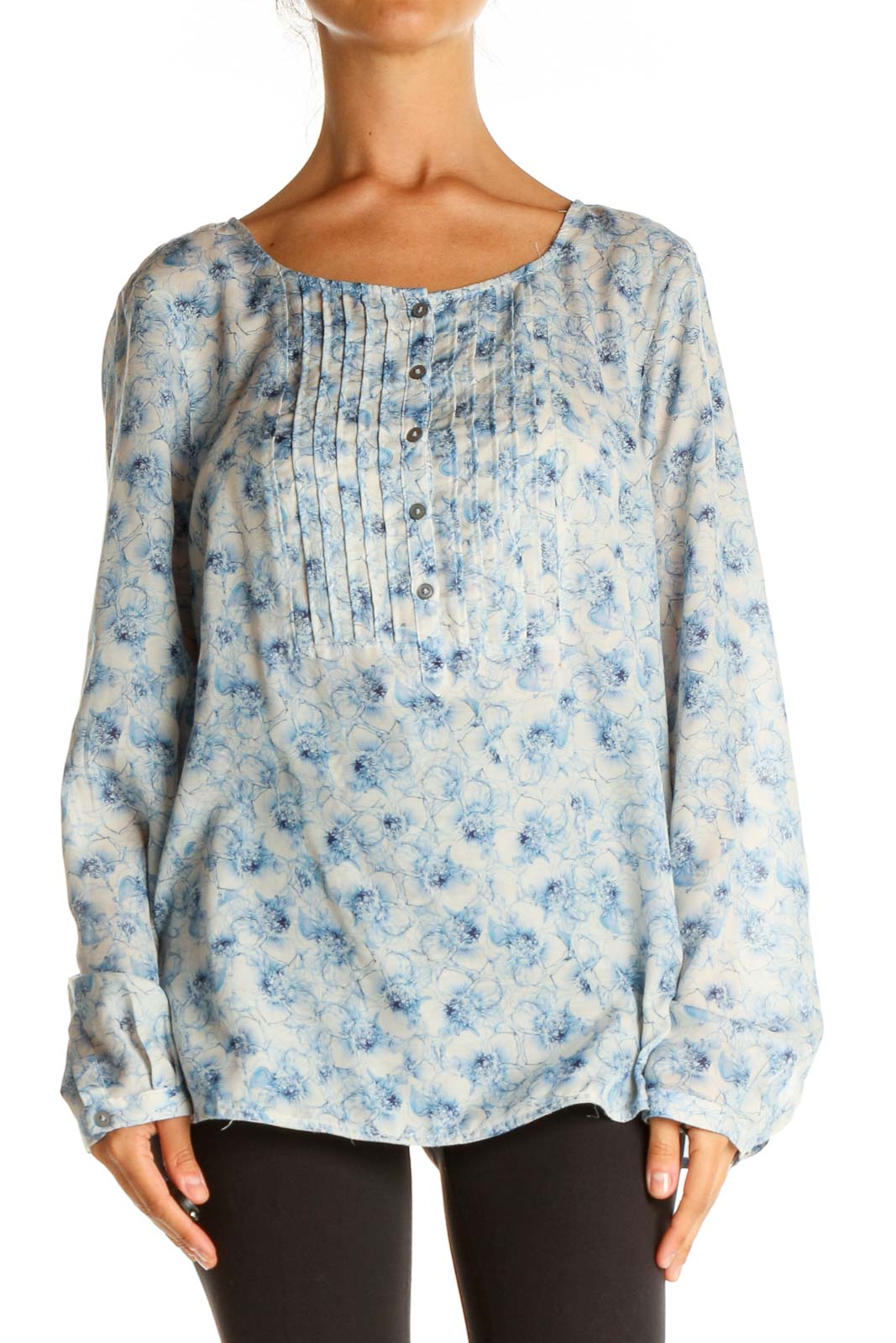 Blue Printed All Day Wear Blouse Front