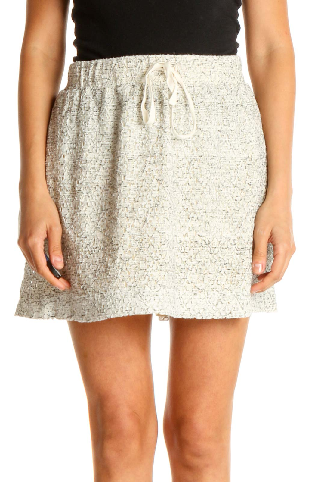 Beige Printed Chic Skirt Front