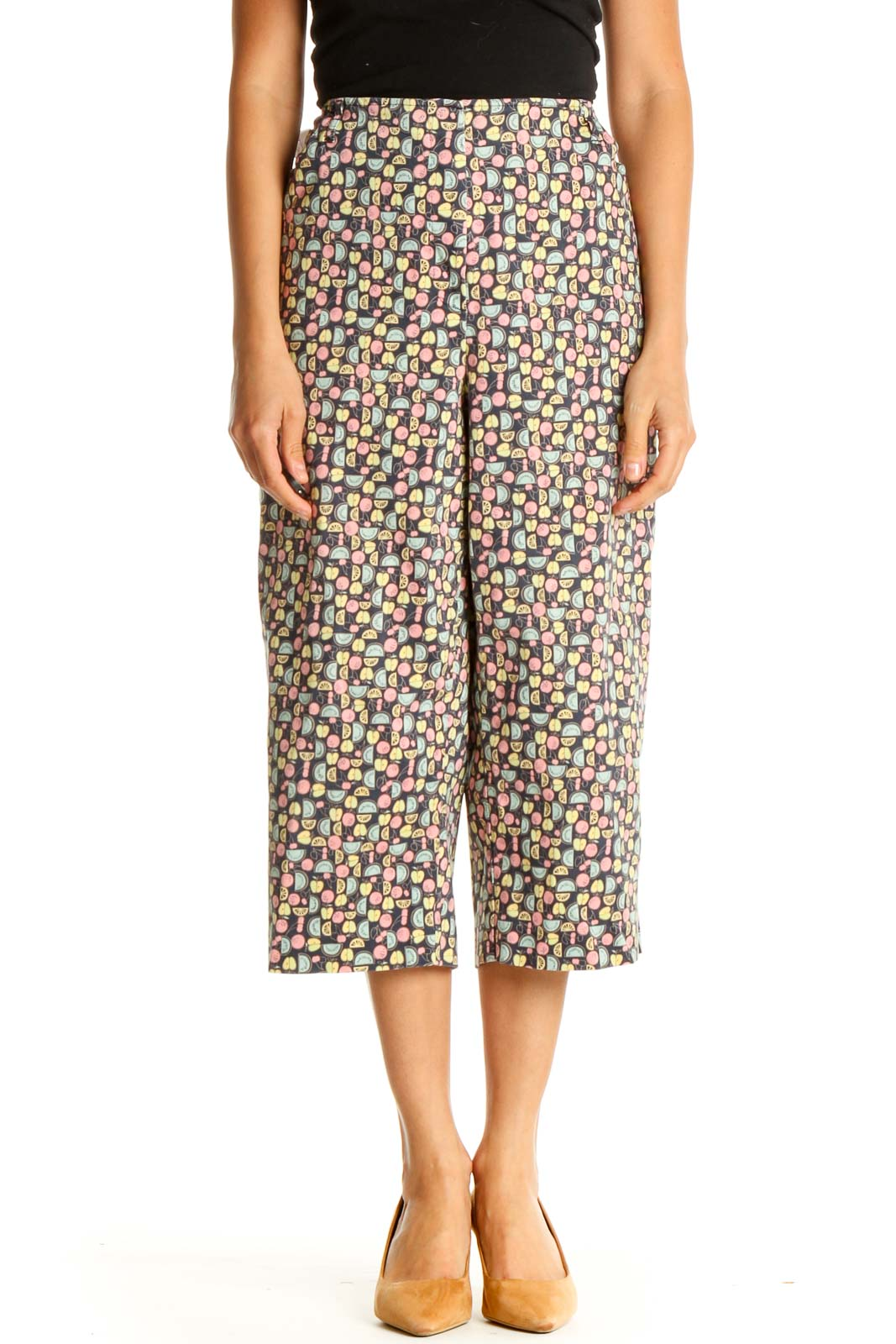 Brown Printed Casual Trousers Front