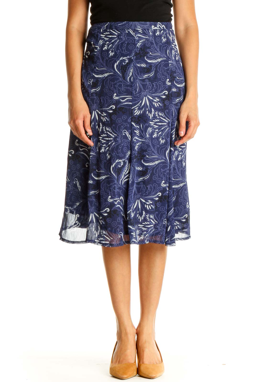 Blue Printed Casual A-Line Skirt Front