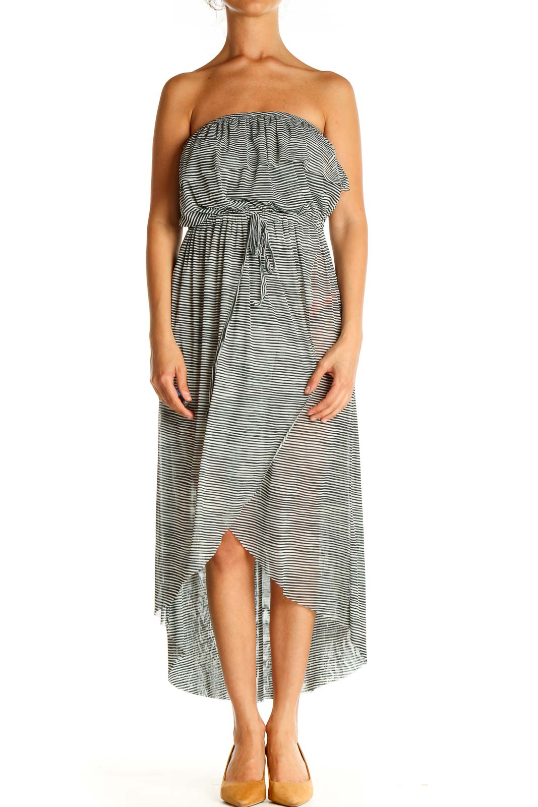 Gray Strapless Fit & Flare Dress Front