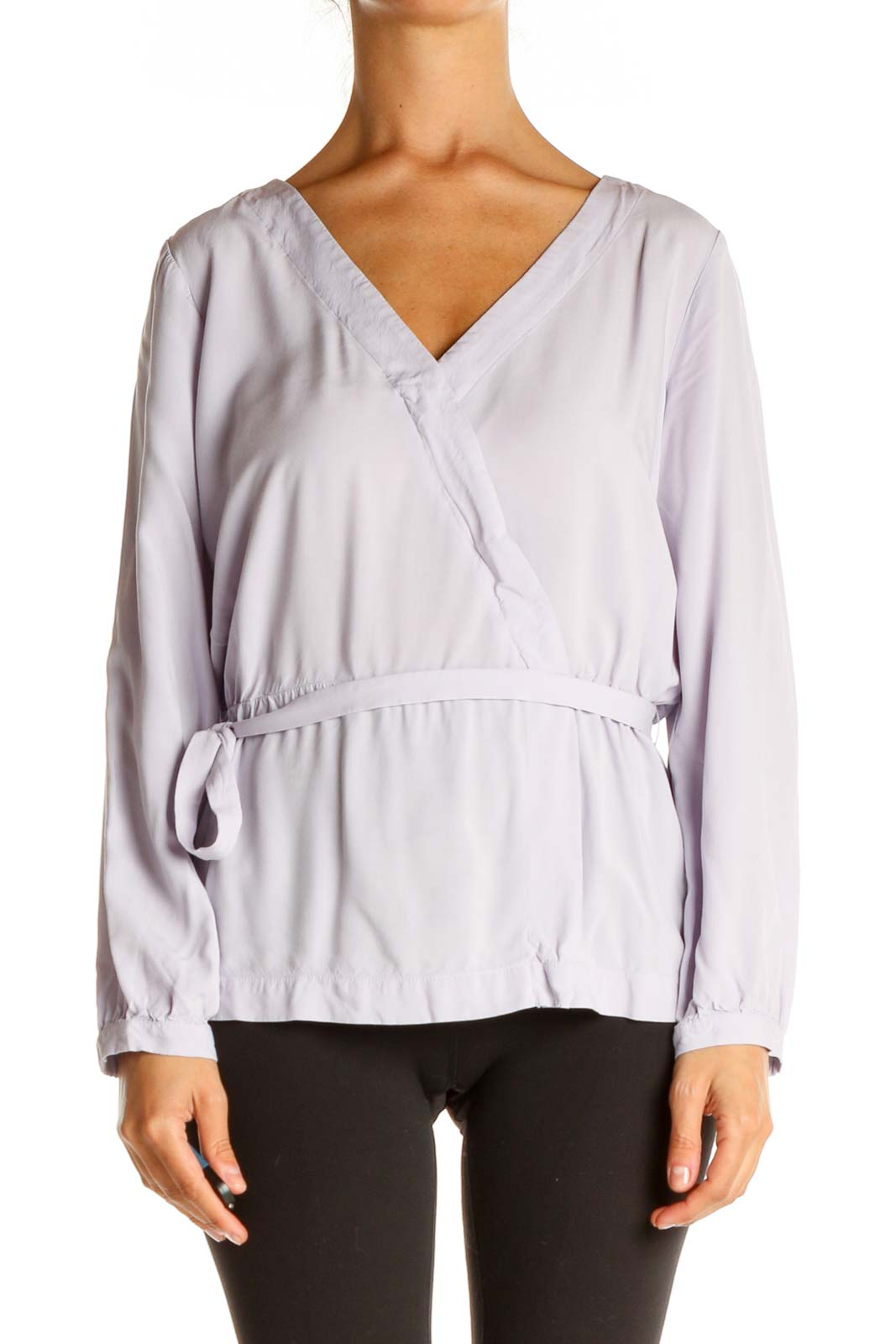 Purple Solid Casual Blouse Front