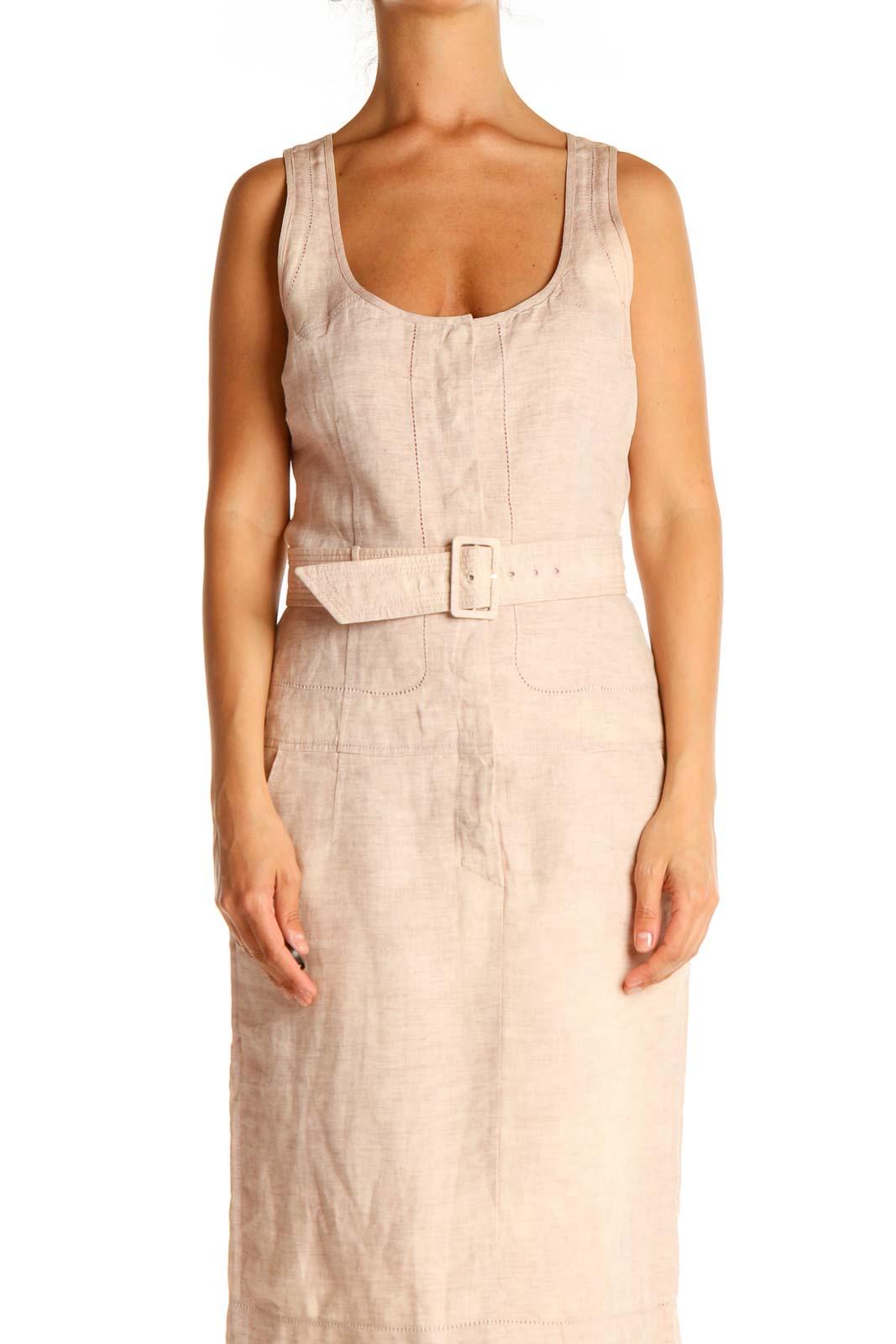 Pink Textured Sheath Dress Front
