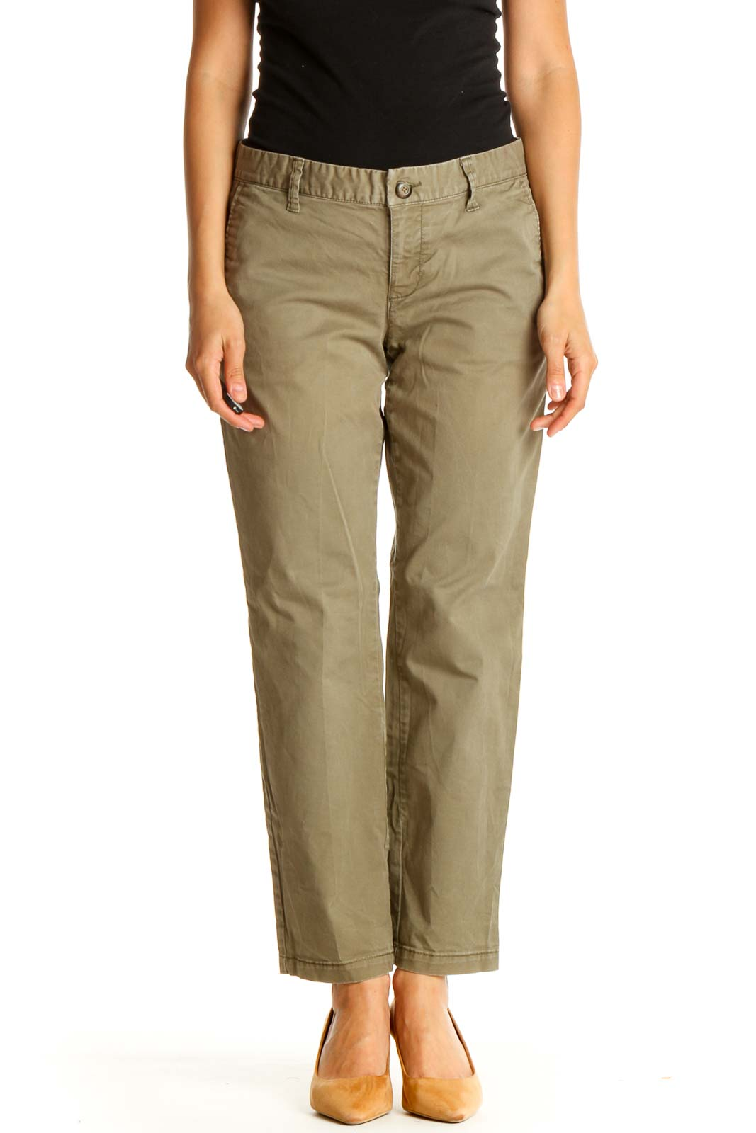 Green Solid All Day Wear Trousers Front