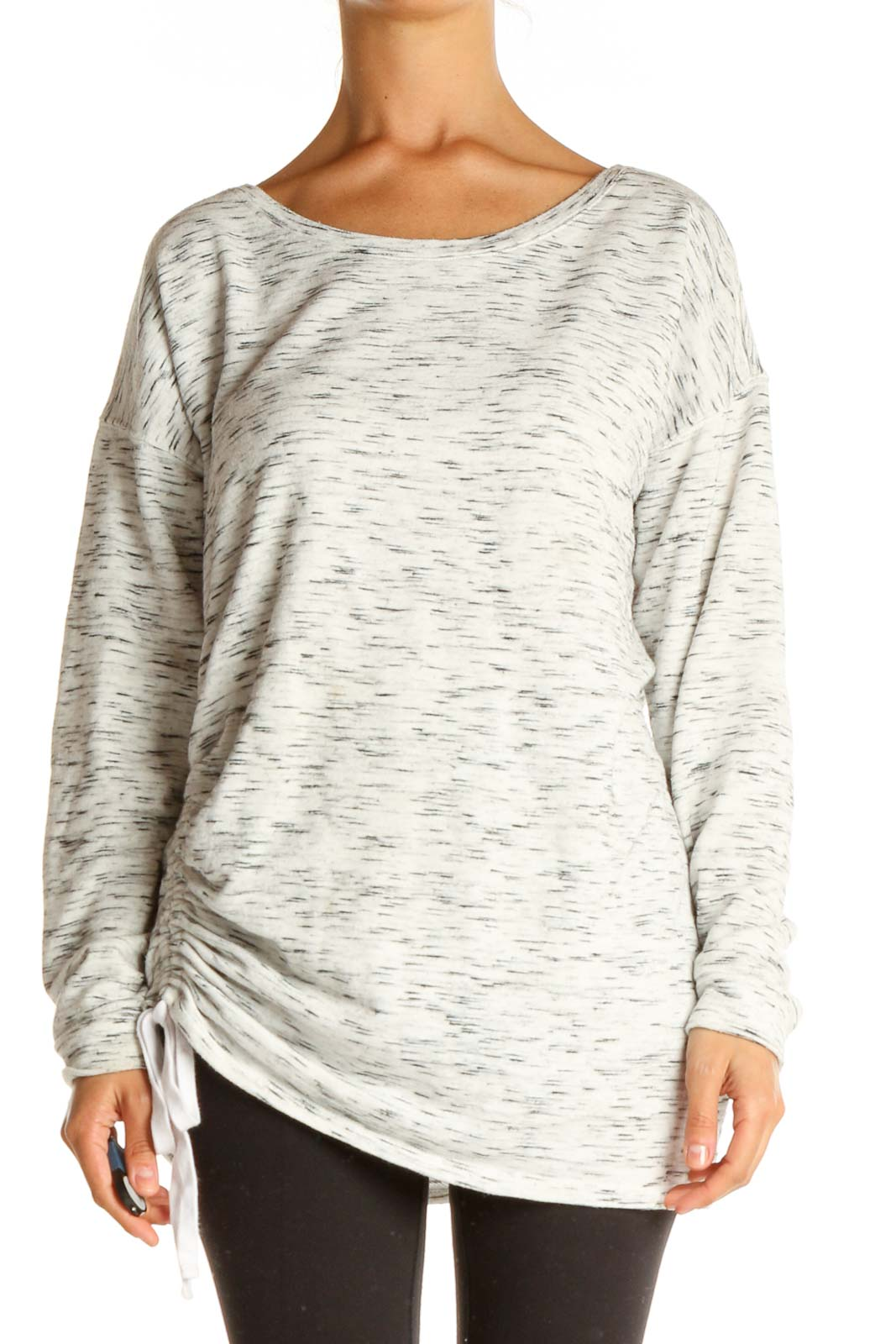 White Textured All Day Wear T-Shirt Front