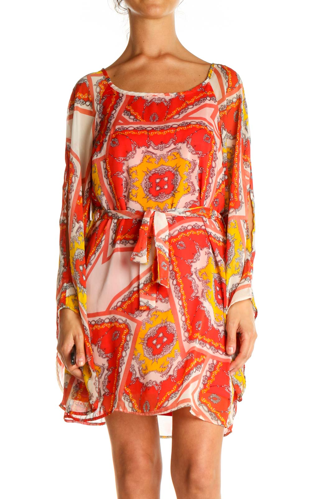 Red Graphic Print Bohemian Shift Dress Front