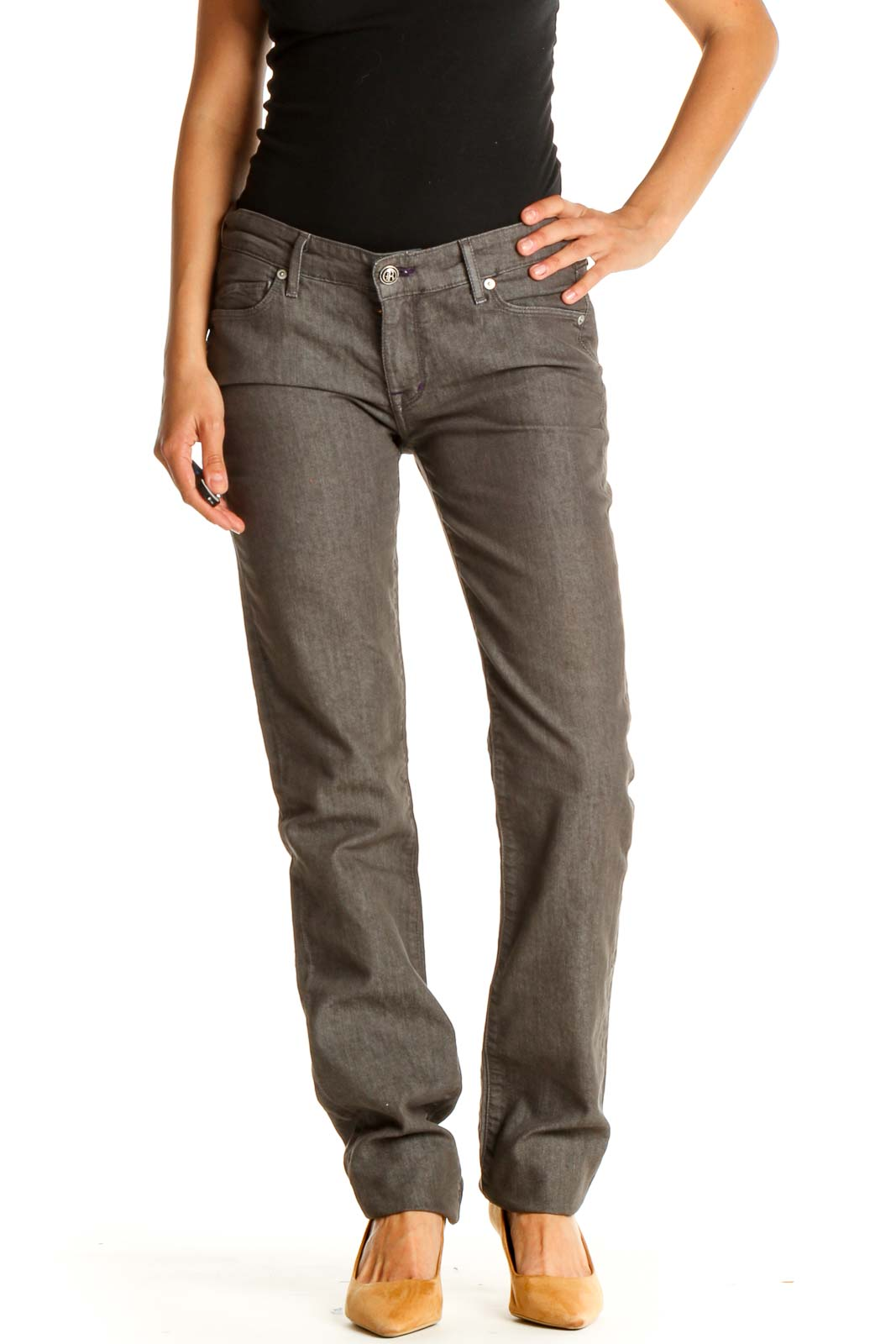 Brown Textured All Day Wear Pants Front
