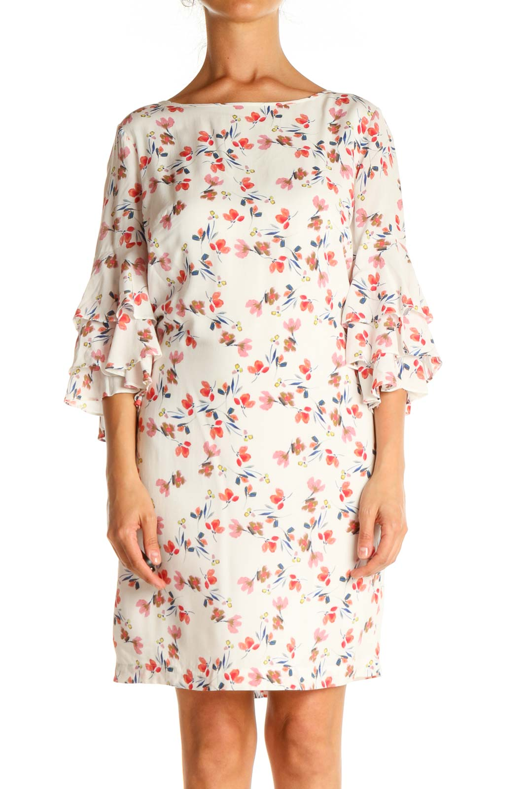 White Floral Print Day A-Line Dress Front