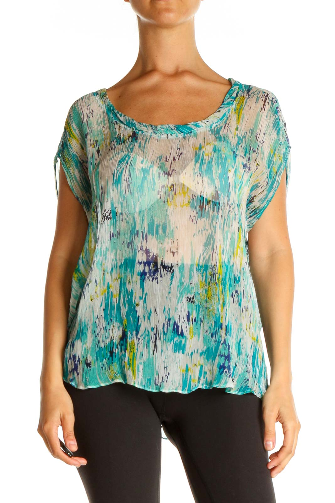 Blue Tie And Dye Brunch Blouse Front