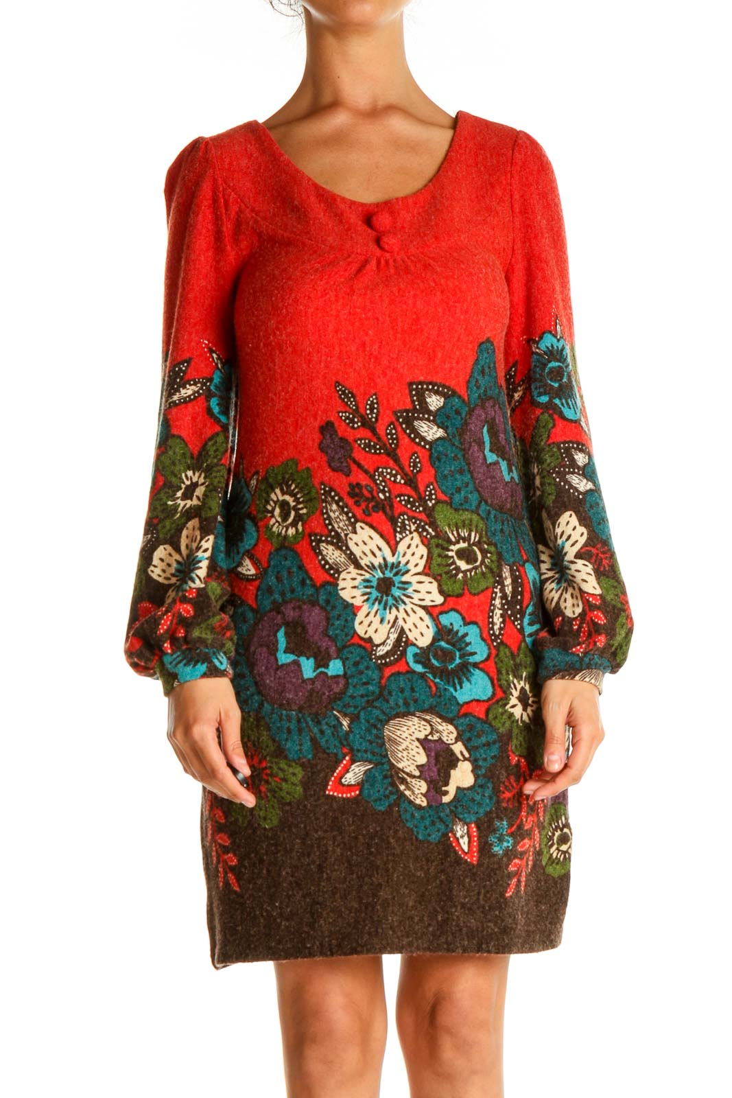 Red Floral Print Day Sheath Dress Front