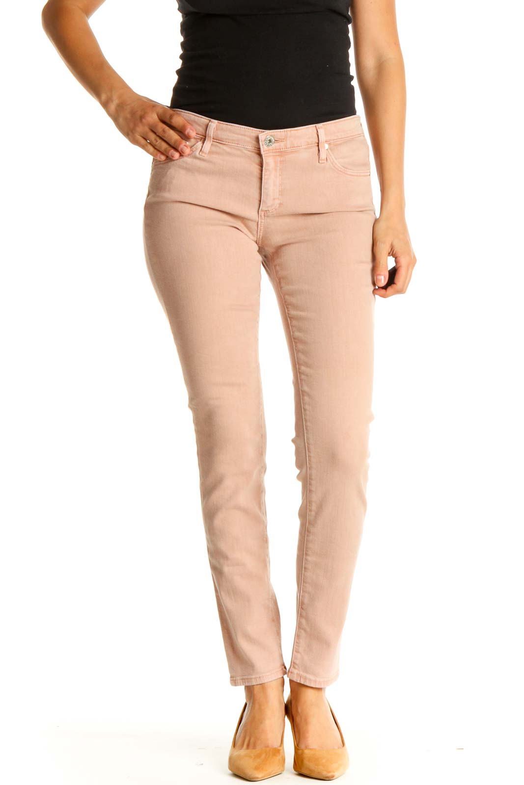 Pink Solid All Day Wear Pants Front