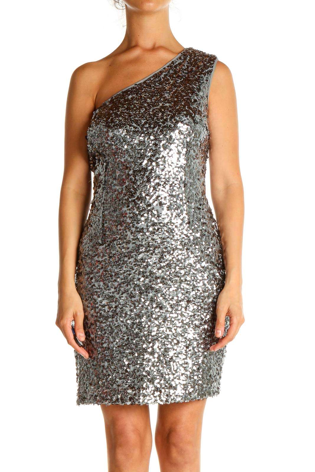 Gray Sequin Cocktail Sheath Dress Front