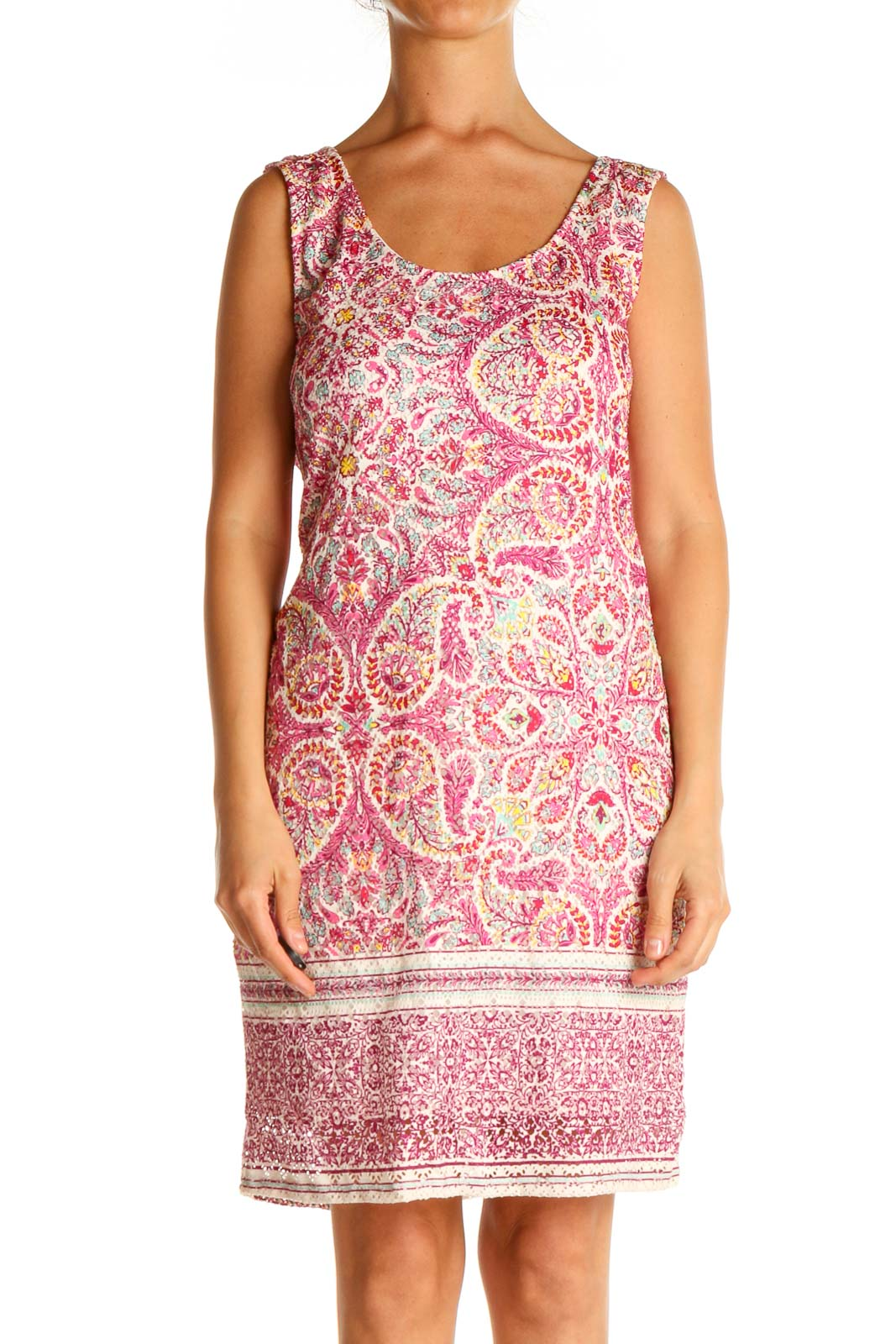 Pink Printed Day Sheath Dress Front