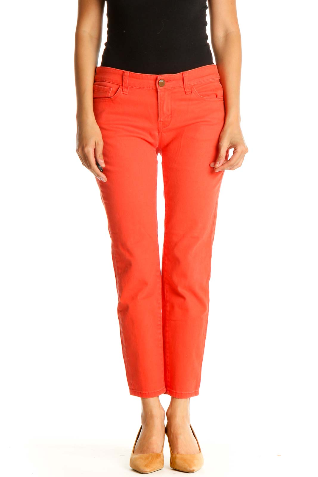 Red Solid Casual Capri Pants Front