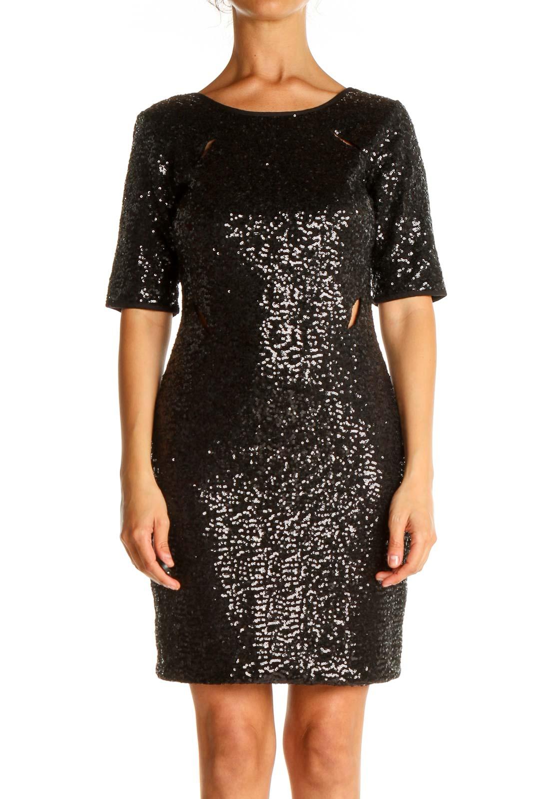Black Sequin Cocktail Sheath Dress Front