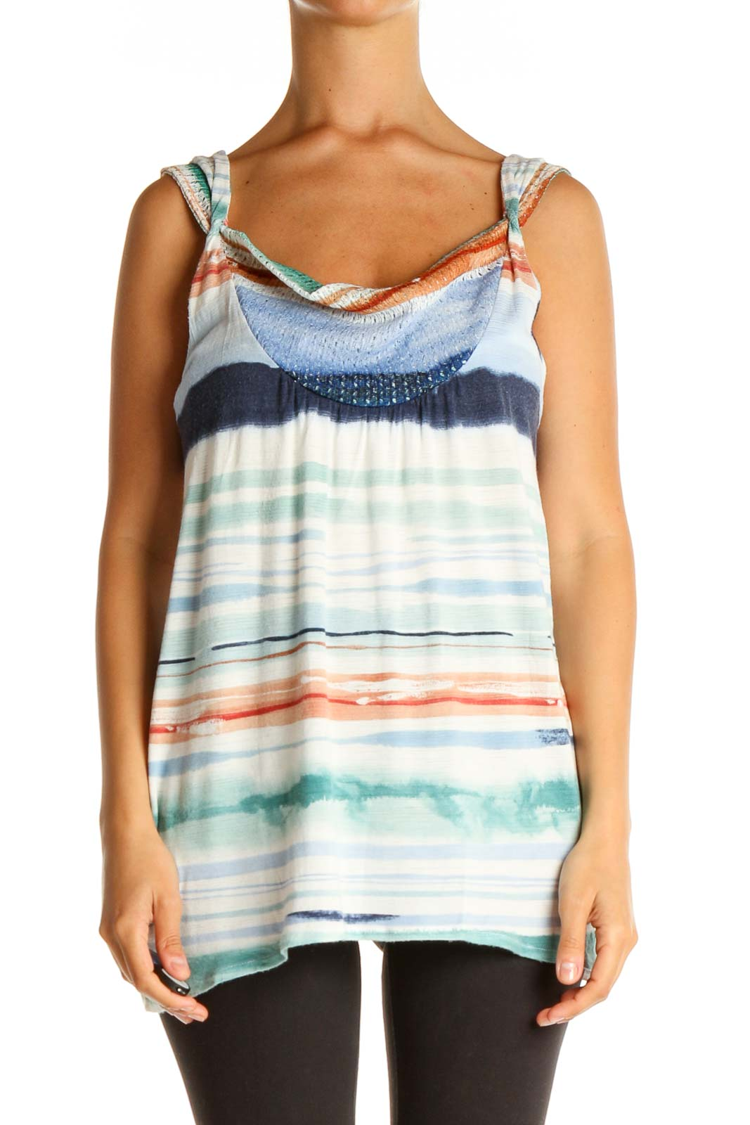 Blue Tie And Dye Casual Top Front