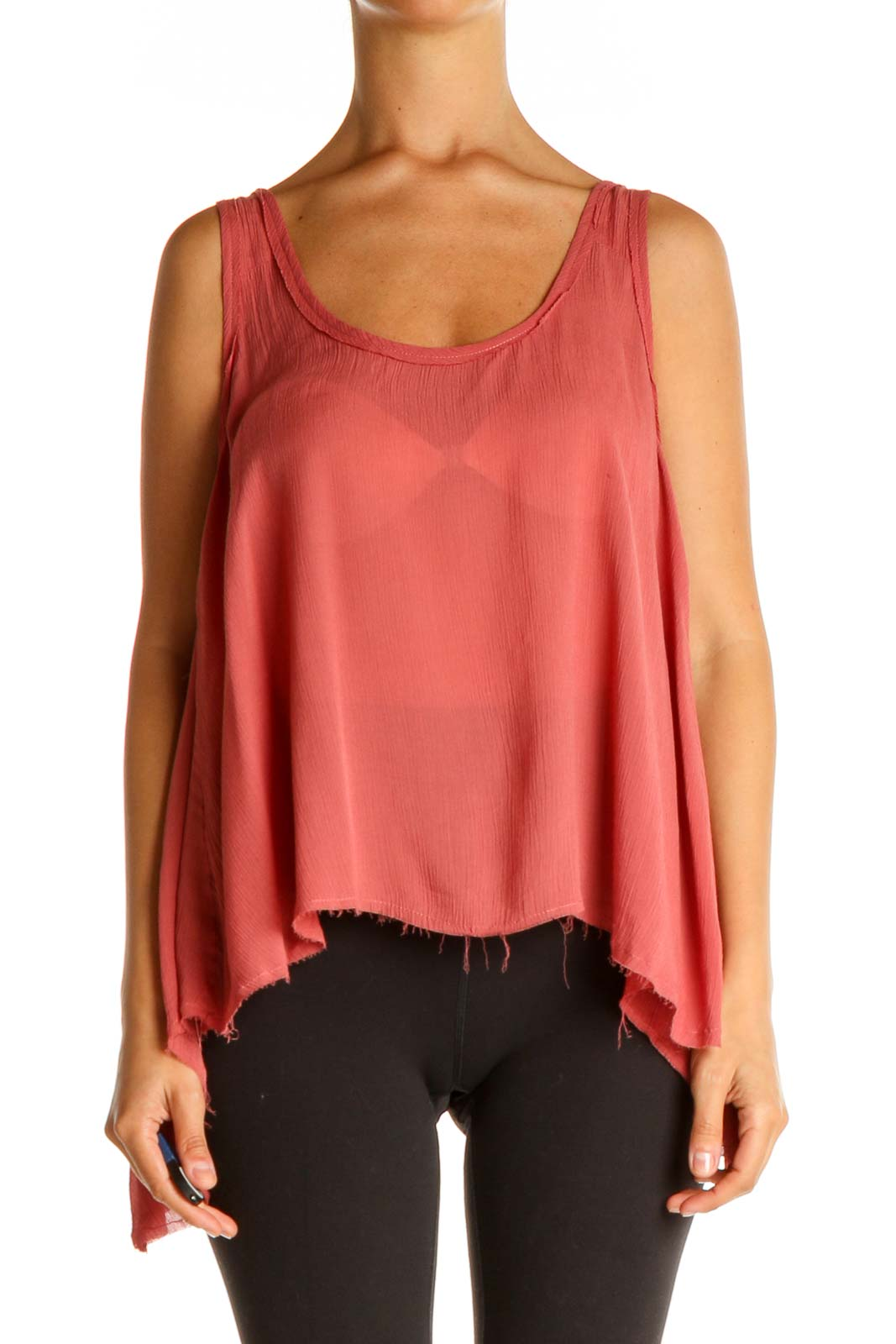 Pink Solid Bohemian Tank Top Front