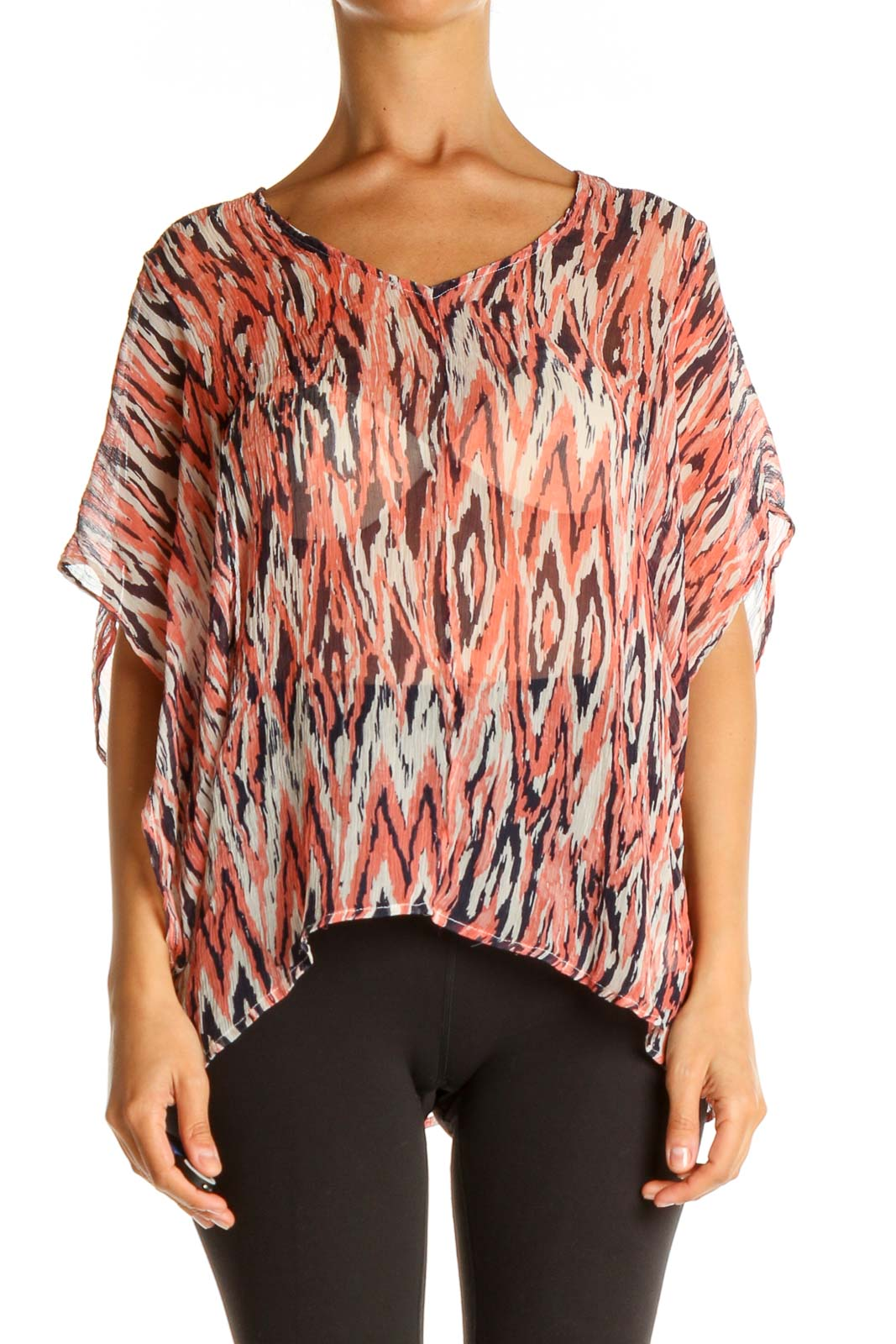Pink Graphic Print Bohemian Blouse Front