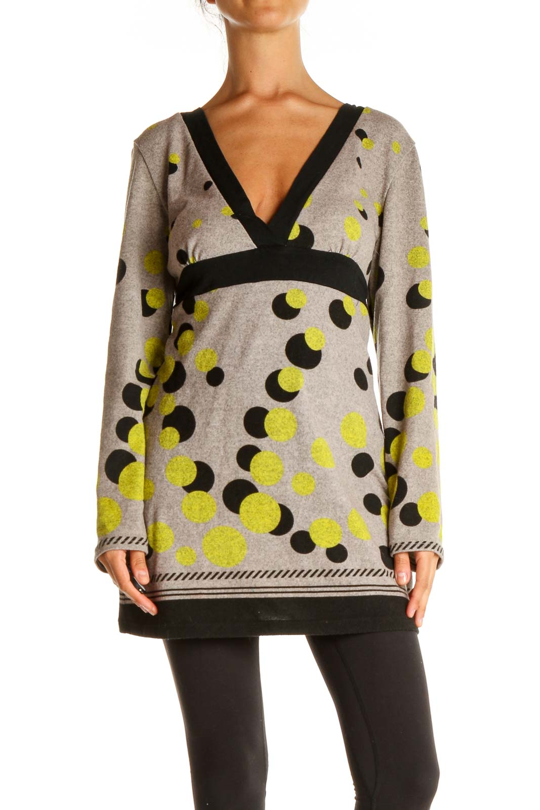 Beige Polka Dot All Day Wear Sweater Front