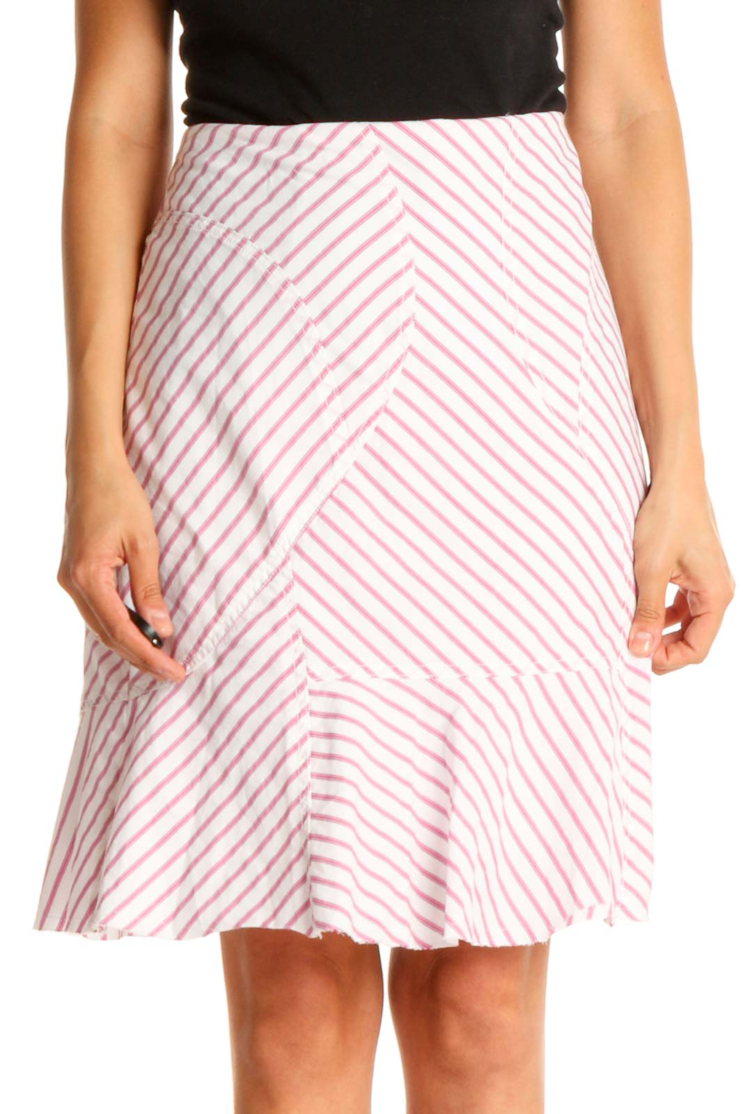 White Striped Brunch A-Line Skirt Front