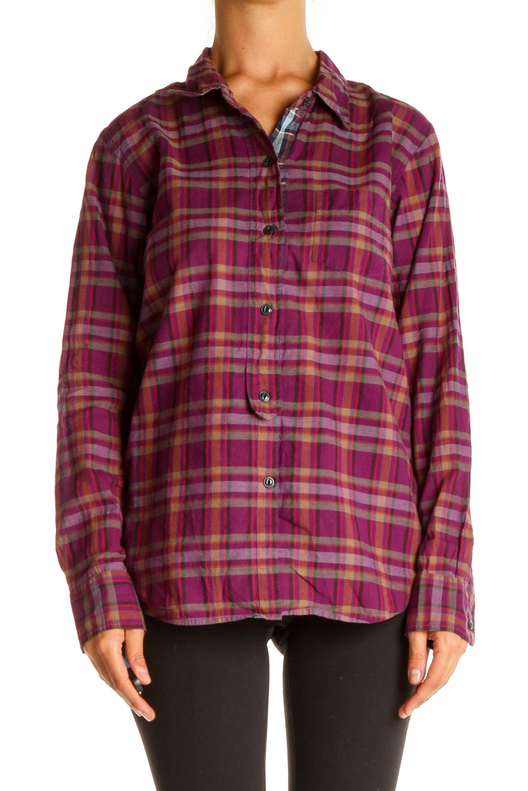 Purple Checkered Casual Shirt Front