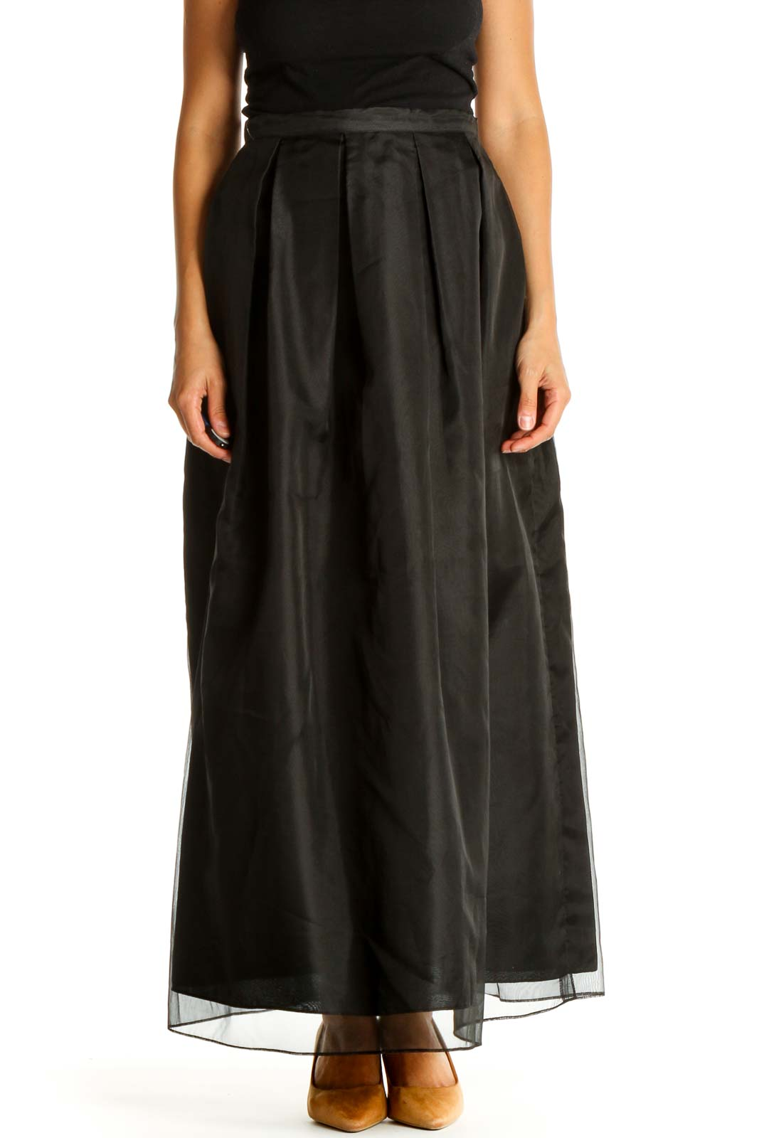 Black Solid Retro Flared Skirt Front
