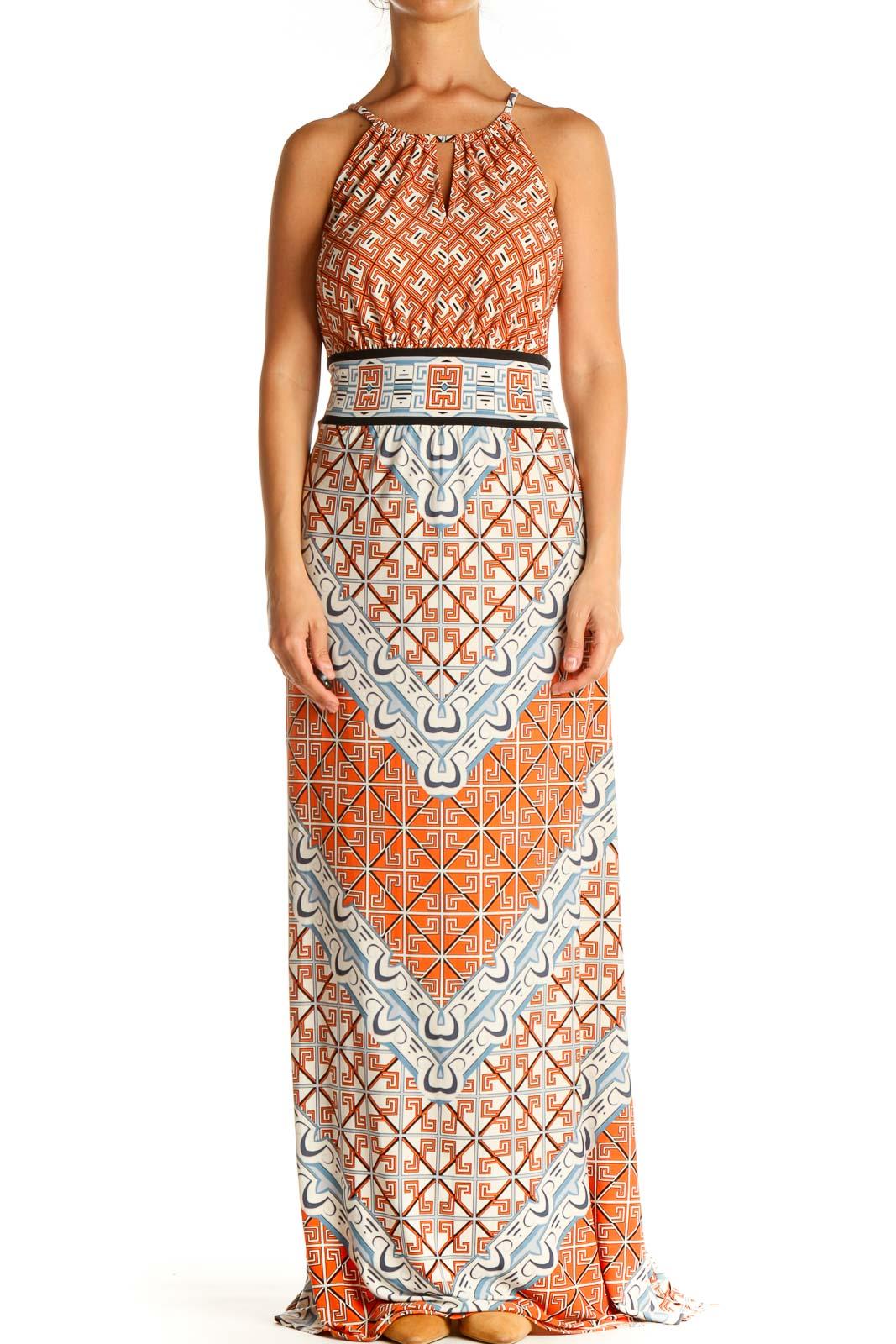 Orange Geometric Print Retro Column Dress Front