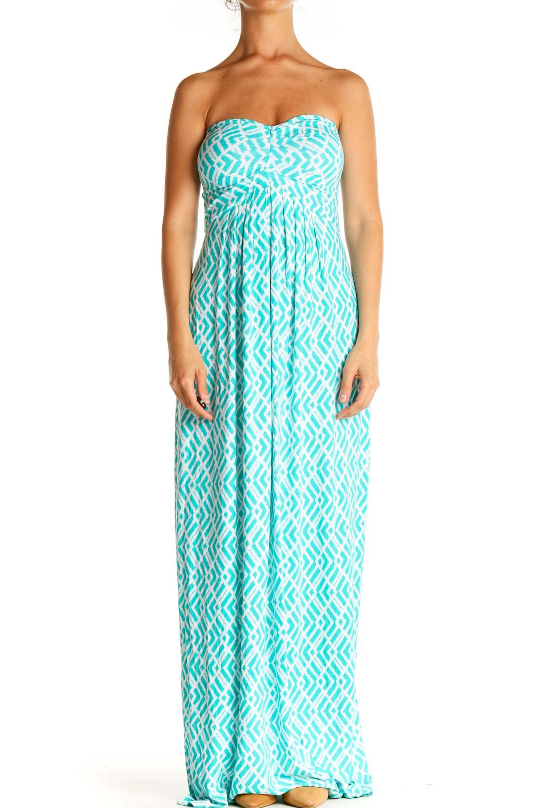Blue Geometric Print Casual Column Dress Front