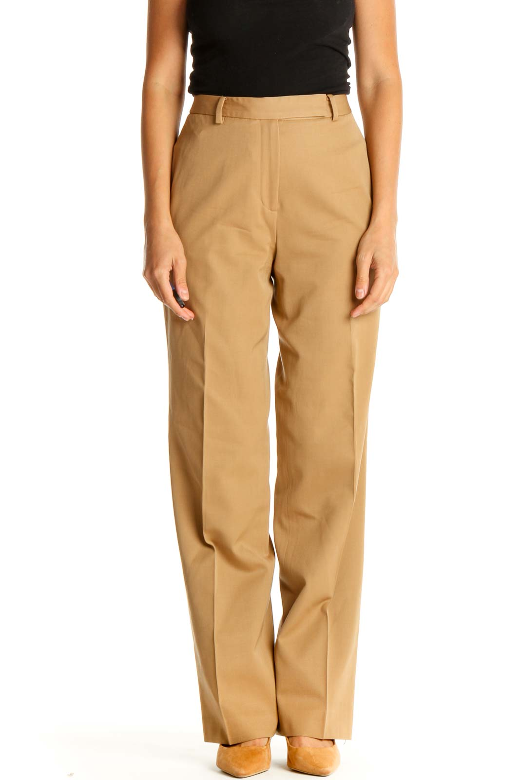 Beige Classic Trousers Front