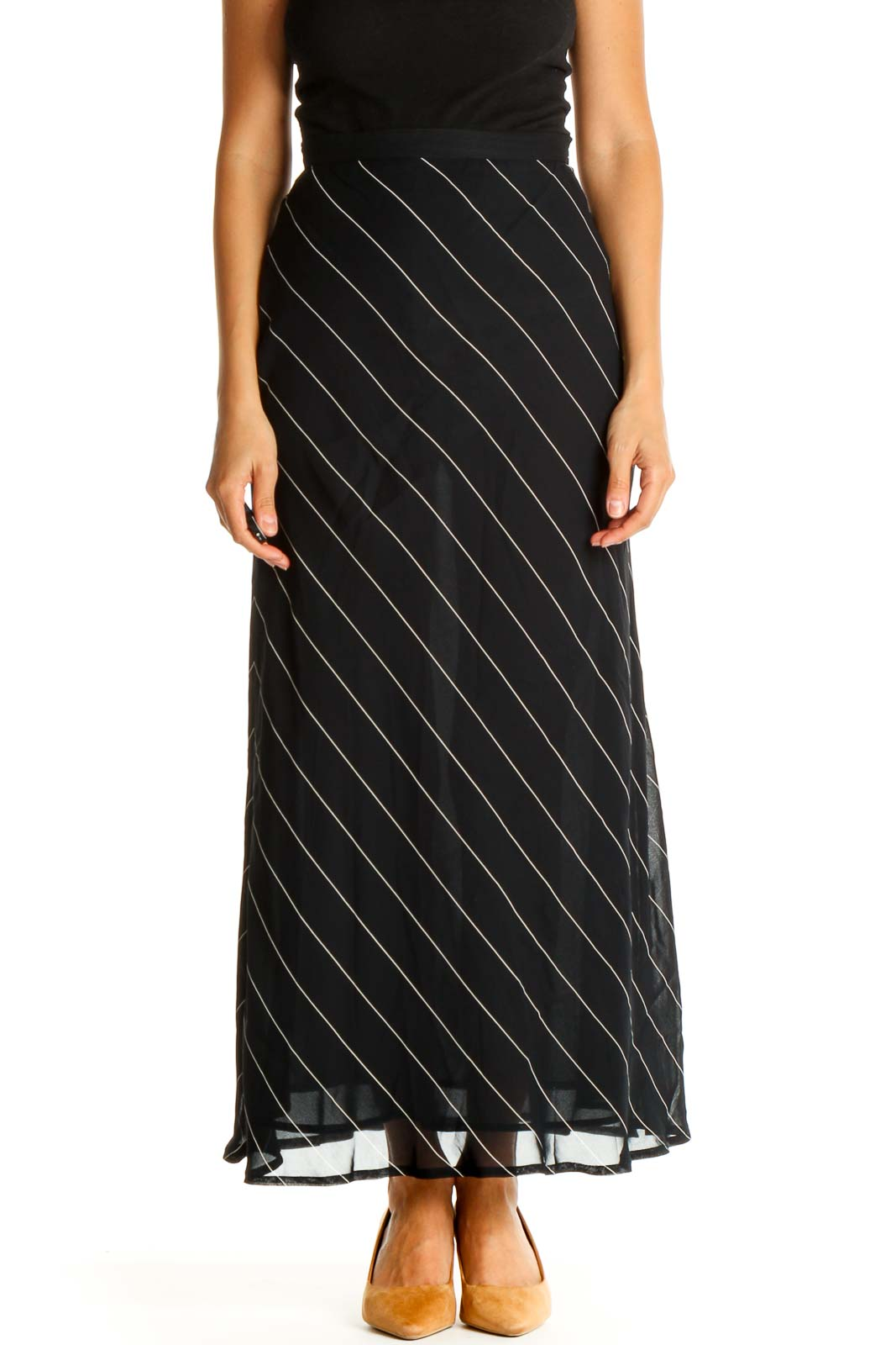 Blue Striped Holiday A-Line Skirt Front