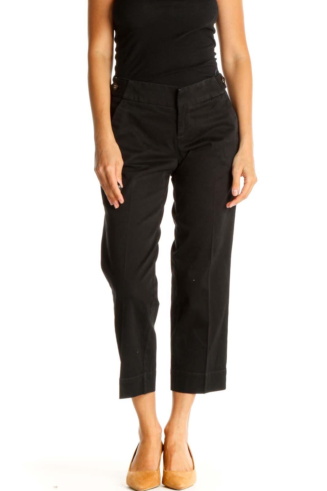 Black Solid All Day Wear Capri Pants Front