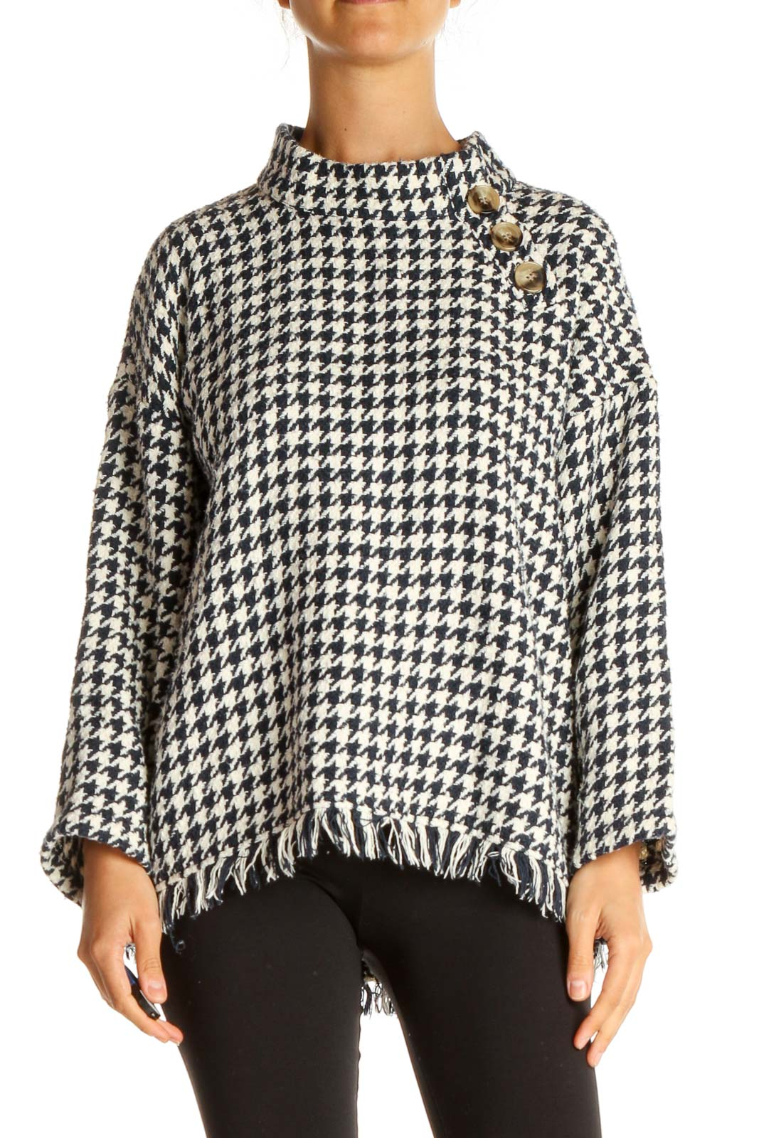 Blue Houndstooth Retro Sweater Front