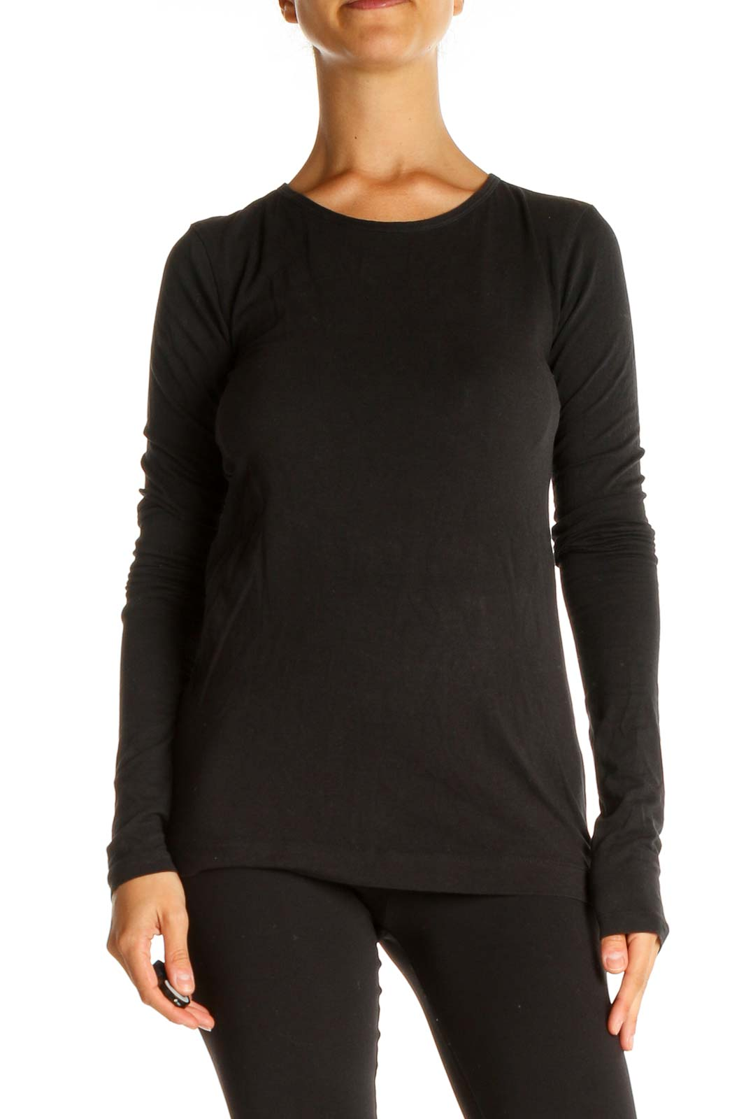 Black Solid Classic T-Shirt Front