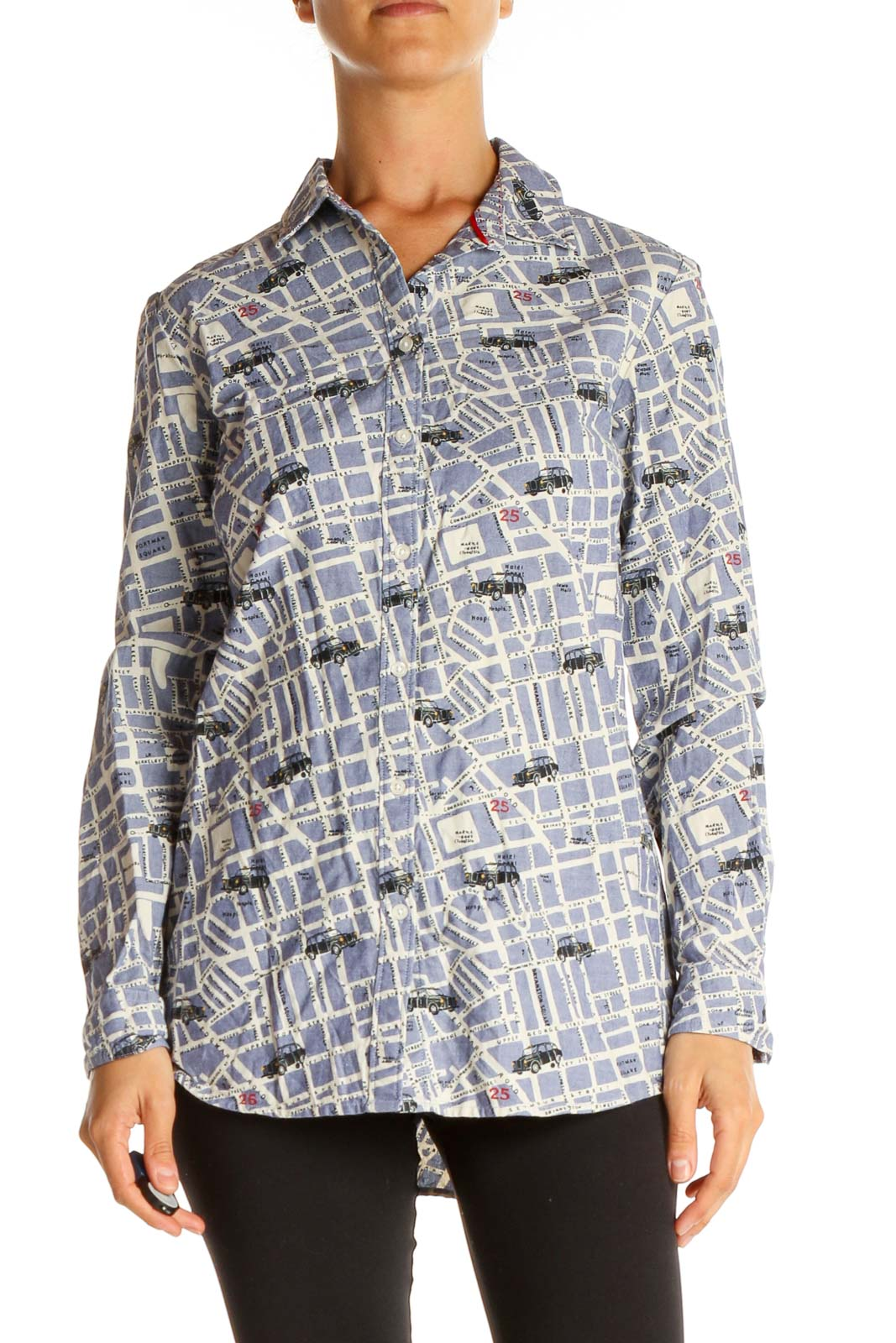 Gray Graphic Print All Day Wear Shirt Front