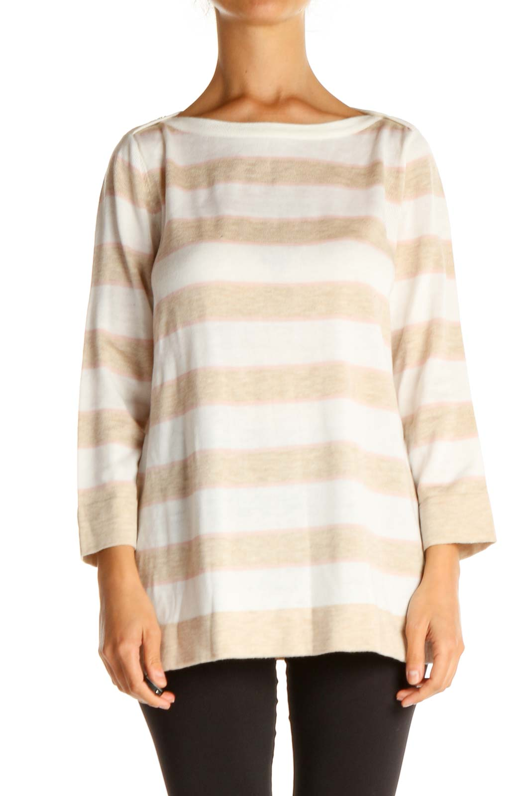 White Striped All Day Wear Sweater Front