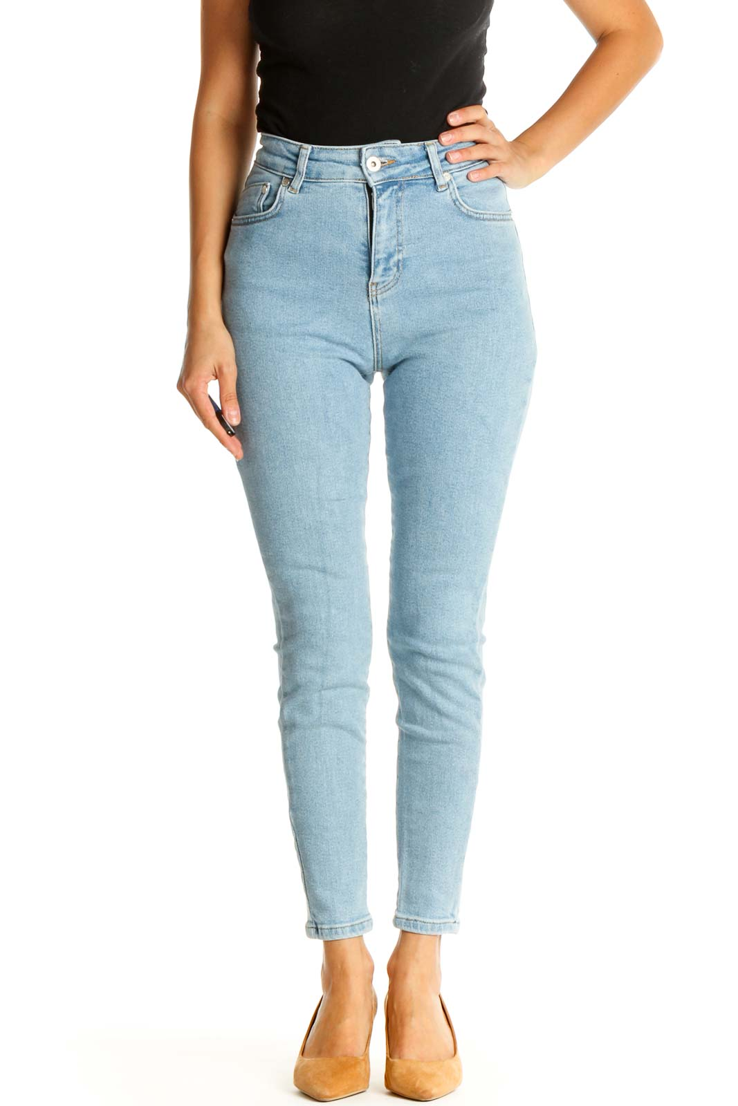 Blue High Waisted Skinny Jeans Front