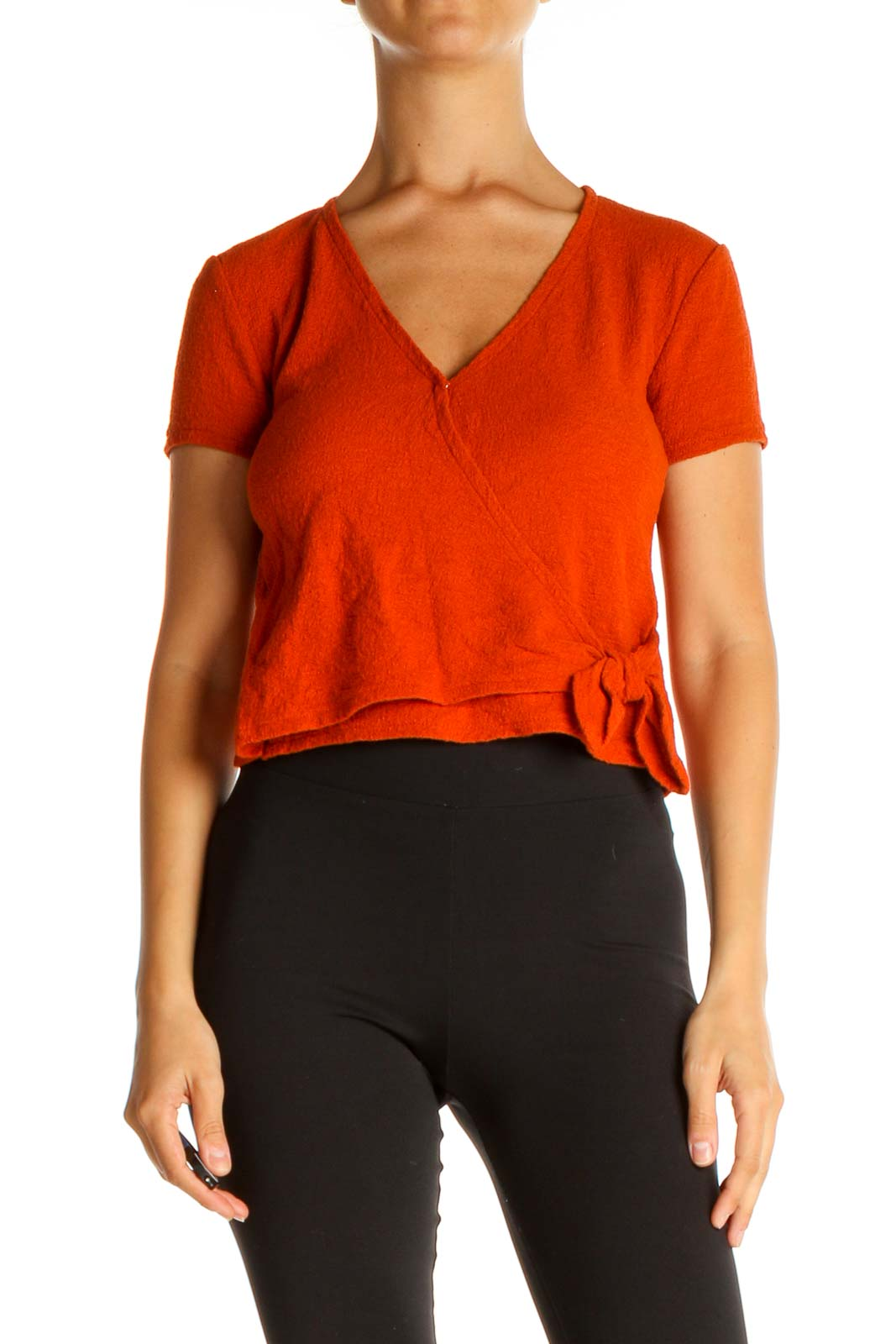 Orange Solid Casual T-Shirt Front