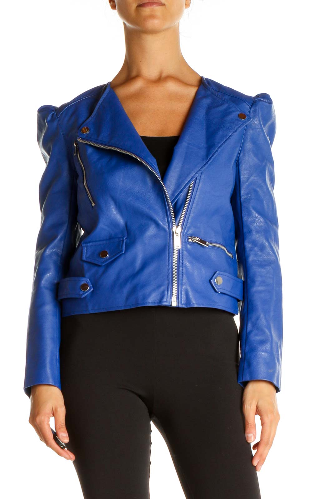 Blue Motorcycle Jacket Front