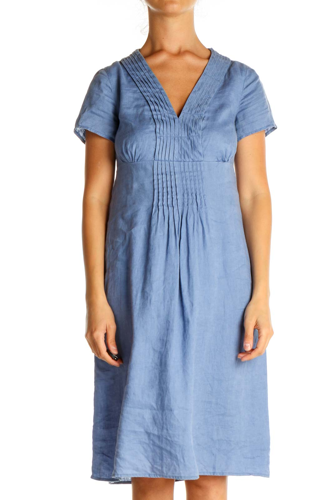 Blue Solid Day Dress Front