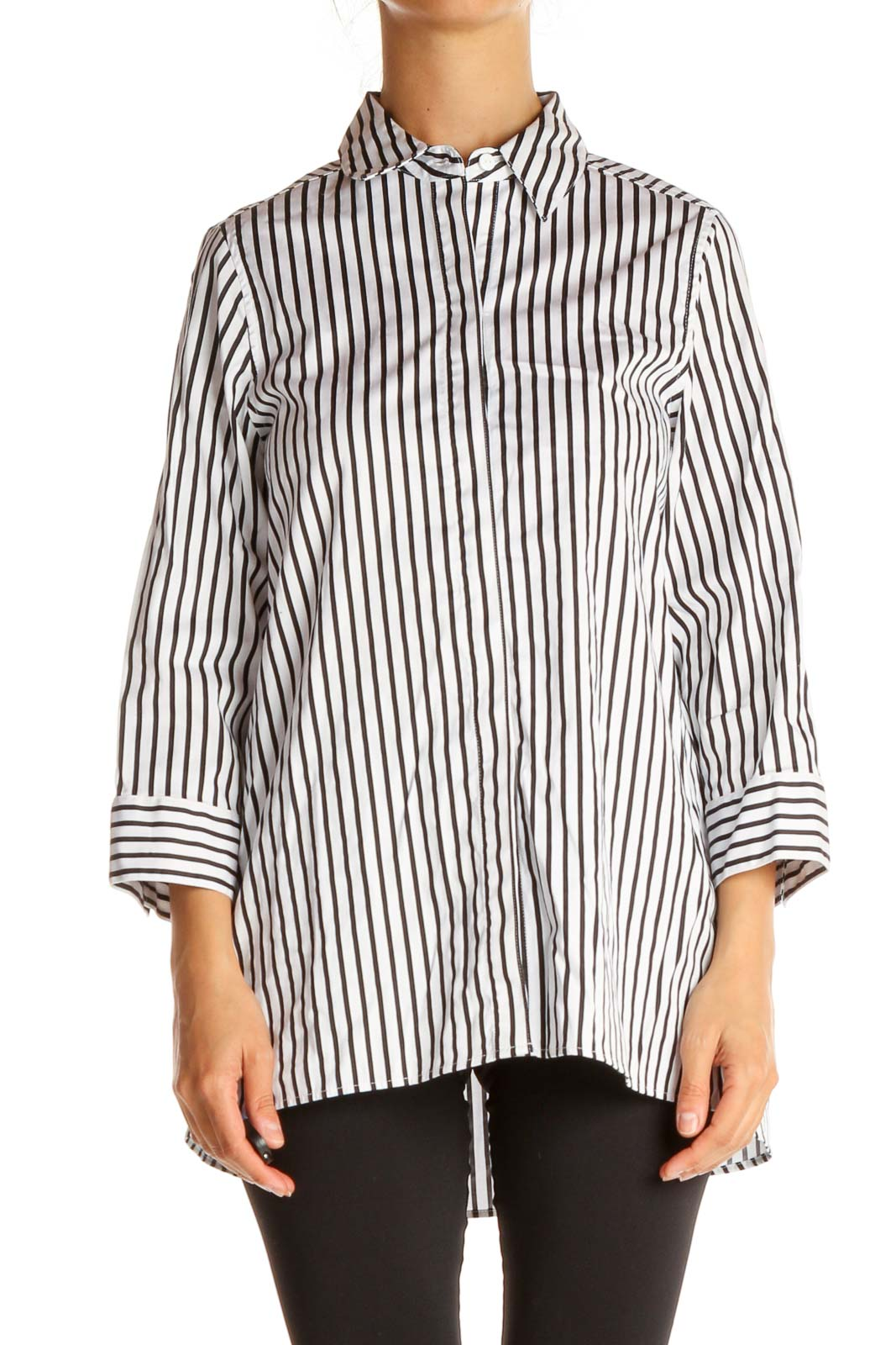 White Striped All Day Wear Shirt Front