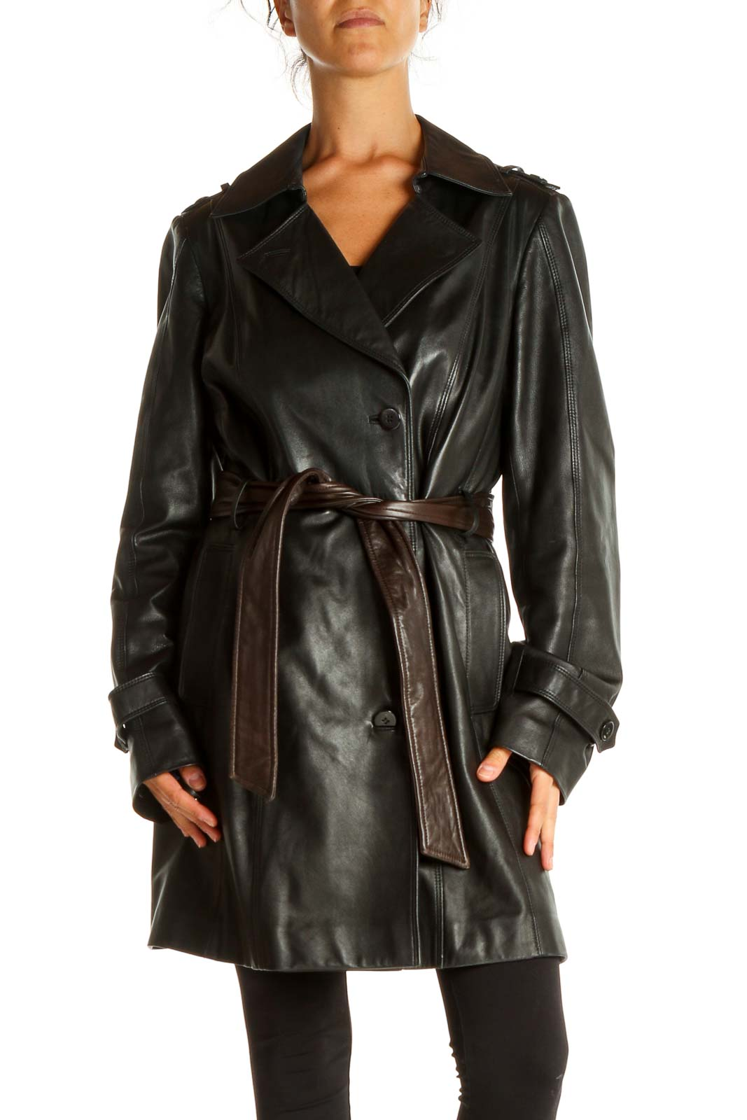 Black Leather Overcoat Front