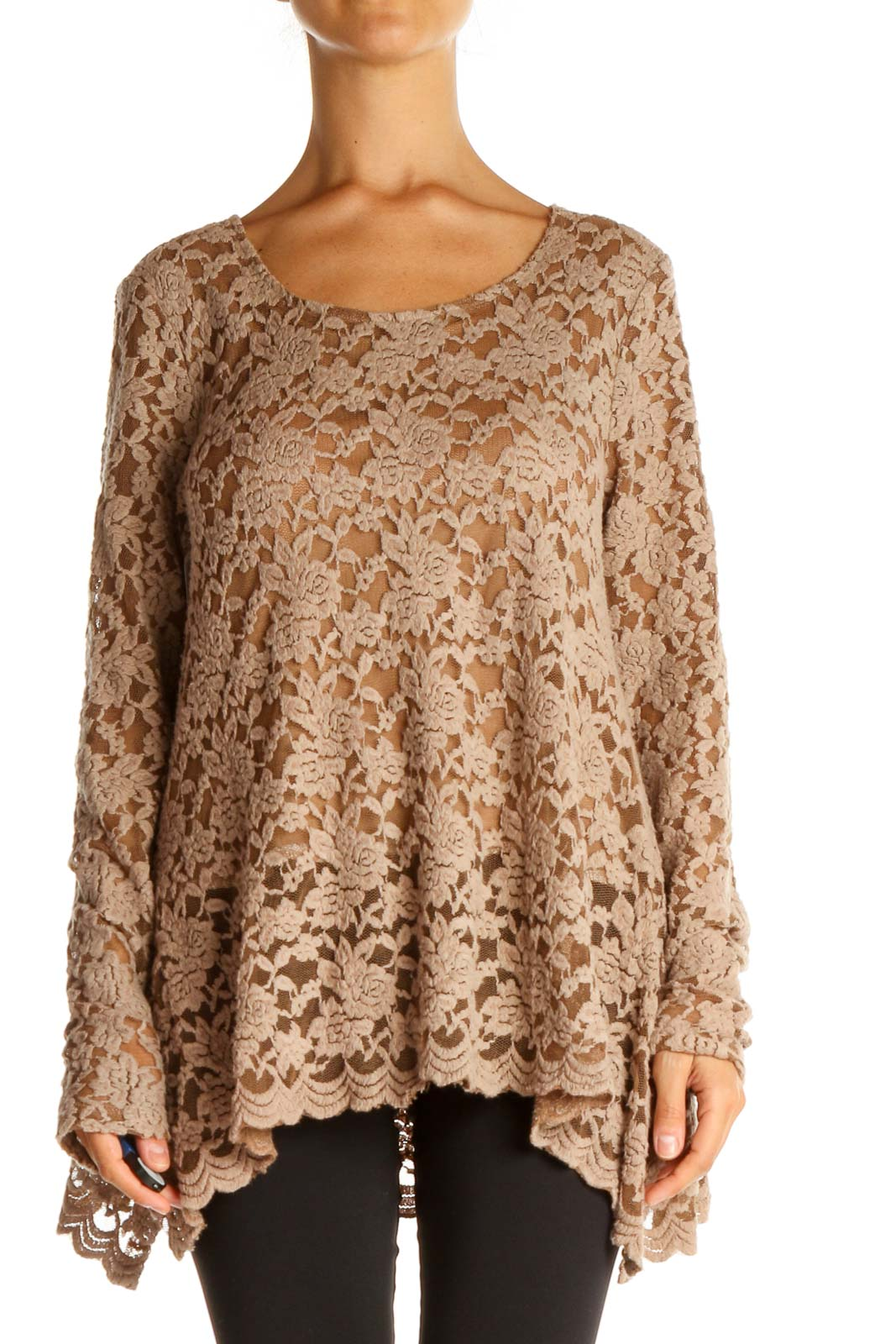 Beige Lace Casual Shirt Front
