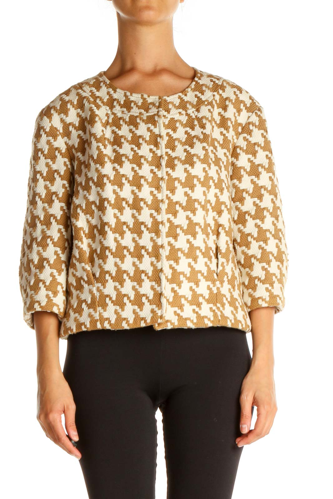 Beige Houndstooth All Day Wear Sweater Front