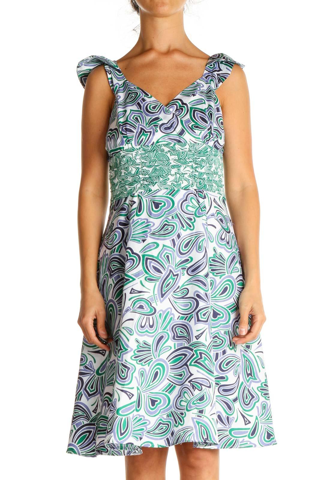 Blue Paisley Bohemian Fit & Flare Dress Front