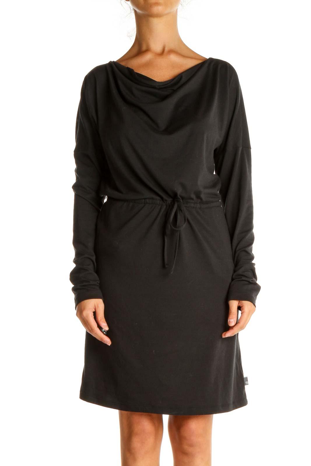 Black Solid Sporty Sheath Dress Front