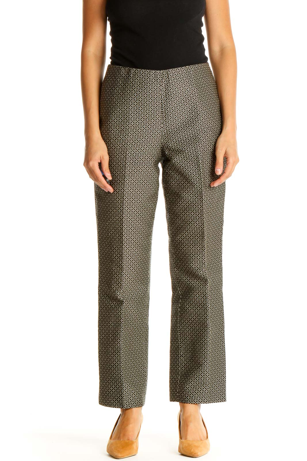 Brown Textured Retro Trousers Front