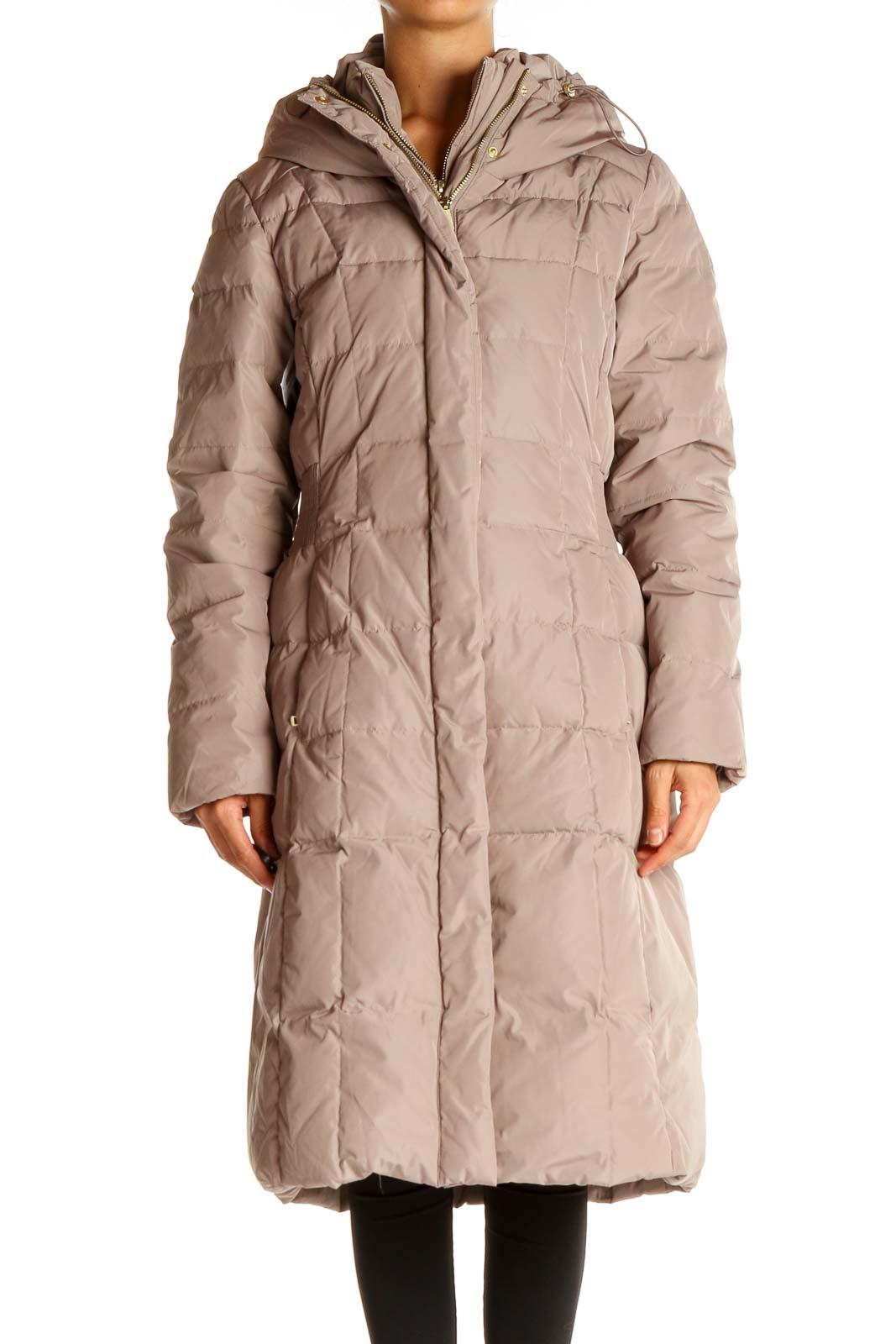 Beige Puffer Coat Front