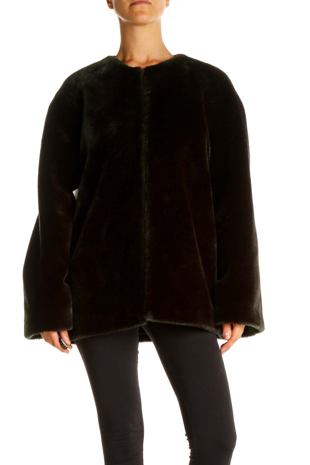 Black Fur Jacket Front